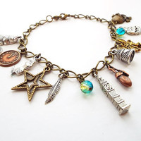 peter pan charm bracelet - fairy tale fantasy jewelry - peter pan jewelry - mixed metal