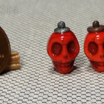 One Inch Scale Dollhouse Miniature Orange Skull Potion Bottles - Perfume Bottles - Jars - Containers