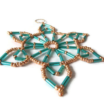 turquoise and golden seed bead and wire tree ornament Christmas star for decoration
