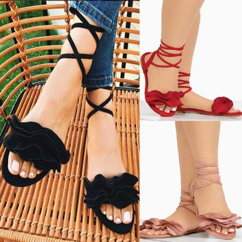 Womens Ladies Lace Up Ankle Strappy Tie Sandals Summer Open Toe Flat Shoes Beach