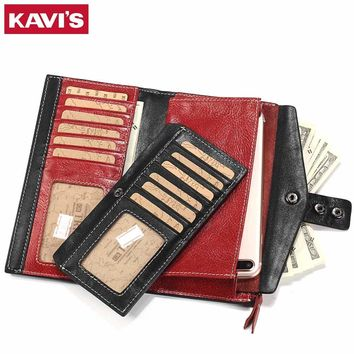KAVIS Women Wallet Female Cow Genuine Leather Purse Clutch Coin Purse Long Design Red Walet Portomonee Hasp Handy Lady and Girls