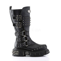DMA 3004 Black Strap Lace Closure Spiked Goth Punk Biker Boots 7-13