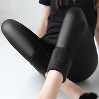 Plus Size High Waist Velvet Leather Leggings