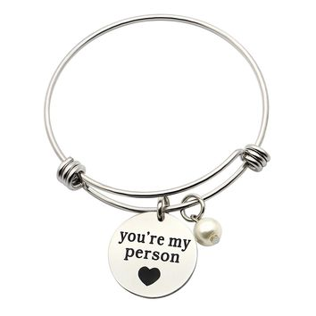 Inspirational Bangle You Are My Person Pearl Gifts For Girlfriend Best Friend Valentine Day Jewelry