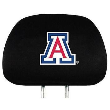 Arizona Wildcats 2-pack Auto Head Rest Covers Black Velour Cover University of