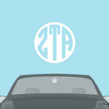 ZTA Zeta Tau Alpha Monogram Car Laptop Dorm Window Vinyl Sorority Decal Sticker
