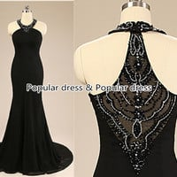 2015 New Fashion Long Crystals Prom Dress/Black Prom Dress/Black Mermaid Prom Dress/Sexy Prom Dress/Black Homecoming Dress/Bridesmaid Dress