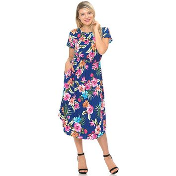 Short Sleeve Flare Midi Dress with Pockets Floral and Striped