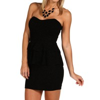 Black Strapless Peplum Dress
