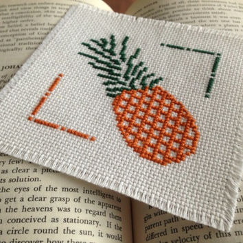 Cross stitch pineapple piece Finished cross stitch piece Cross stitch art Could be a bookmark or coaster as well