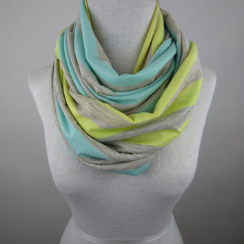 Large Infinity Scarf - Oversized Striped Scarf - Oatmeal with Mint and Yellow Stripes Scarf
