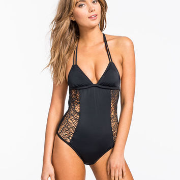 Hurley Webbed One Piece Swimsuit Black  In Sizes