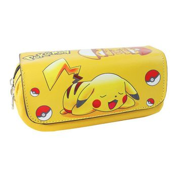 Pocket Monster Wallet Picacho Pen Animation Large Capacity Zipper Pencil Bags Stationery Bag  Go Fun Game Pikachu WalletsKawaii Pokemon go  AT_89_9