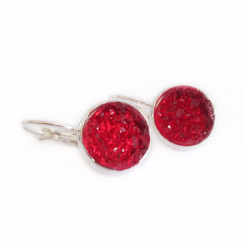 Ruby Red Chunky Druzy Leverback Earrings