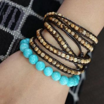 New design handmade natural stone beads wrapped bracelet imitation leather men and women bracelets