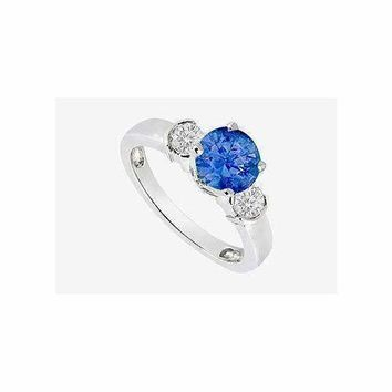 14K White Gold Engagement ring with Sapphire and CZ 1.20 Carat TGW