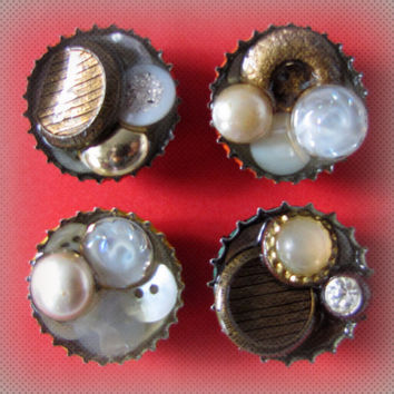 Upcycled Bottle Cap Magnets Vintage Buttons Resin Handmade Recycled Reclaimed Repurposed Eco Friendly Ceramic Magnet