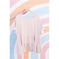 Tristan Tiered Top, Taupe | Extended Sizes