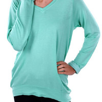 Mint V Neck Terry Top