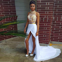 2 Pieces Mermaid Prom Dresses 2016 Robe de soiree Halter Beaded White And Gold Side Leg Split Evening Dress Moroccan Kaftans