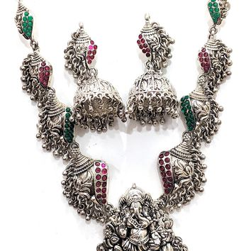 Oxidized Lord Ganehsa Pendant with Shell charms Necklace and Earring set