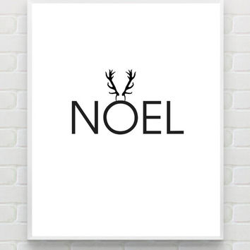 NOEL Printable Christmas Print Christmas Wall Art Typography Poster Scandinavian Christmas Decor Minimalist Holiday Print Instant Download