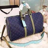 Louis Vuitton LV Classic Popular Women Men Monogram Leather Blue Luggage Travel Bags Tote Handbag High Quality I-BCZ(CJZX)