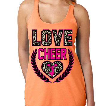 Love Cheer Leopard Womens Triblend Tanktop