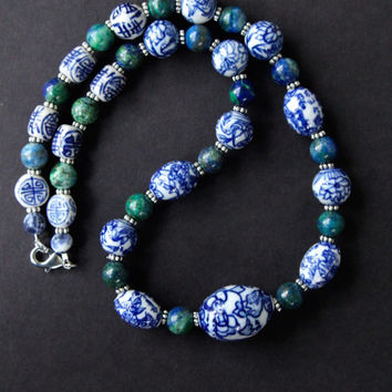 Vintage Chinese Porcelain Necklace w Blue and White Flower Beads and Blue Green Azurite Ethnic Asian Jewelry
