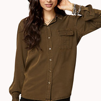 Pyramid Studded Collar Shirt