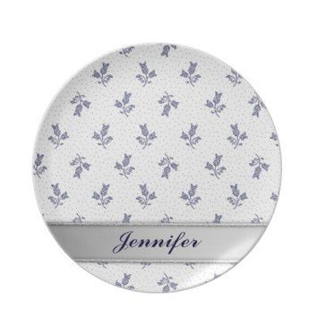 Tiny Harebells - Hungarian Blue-dye Folk Art light Dinner Plates from Zazzle.com