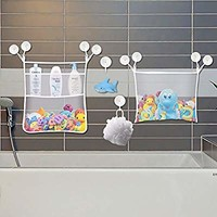 iHomeGarden Bath Toy Organizer - 2 Large Storage Bags and 10 Strong Suction Cups with Key Lock - Baby Kids Bath Tub Net Storage