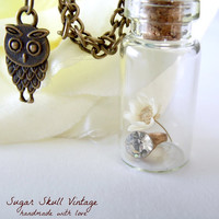 Unique Owl Charm Necklace - Miniature Polymer Clay Charms - Flower in a bottle  - Cute Necklace - Diamond Ring Necklace -