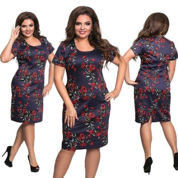 LMFOK8 New 5XL 6XL Large Size 2017 Summer Dress Big Size Flowers Print Dress Straight Elegant Dresses Plus Size Women Clothing Vestidos