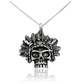 New Native American Skeleton Head Silver Pewter Charm Necklace Pendant Jewelry