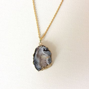 Leopard Agate Slice Necklace, 18K Gold Plated Pendent with Gold Tone Steel Chain