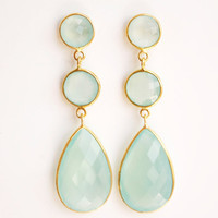Glowing Aqua Blue Chalcedony Drop Earrings - Mint Green, Sea Foam Green - Shades of Summer