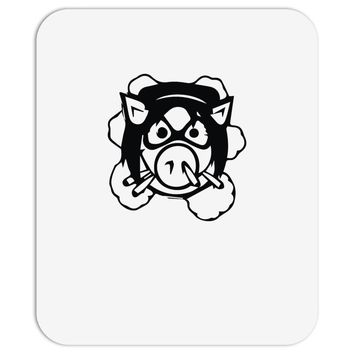 pig wheels angry Mousepad
