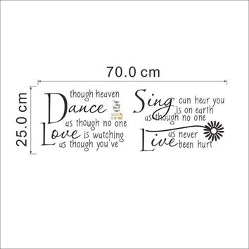 dance though watching quote decals zooyoo2008 removable stickers decor bedroom