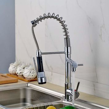 Chrome Power Swivel Spout Pull Out Kitchen Sink Faucet