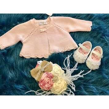 2018 Mayoral Baby Pink Crochet Sweater
