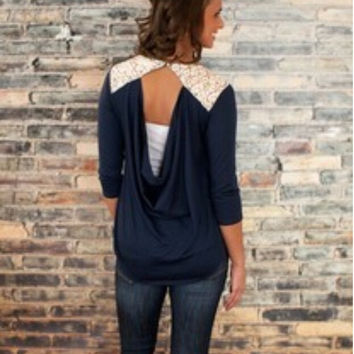 Lace Patchwork Hollow Out Long Sleeve Round-neck T-shirts Bottoming Shirt [7322411649]