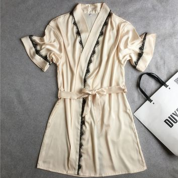 Female short-sleeved silk satin feel eyelash lace nightgown bathrobe big yards leisure loose bathrobe home