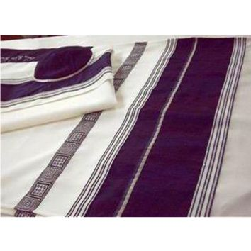 Wool Tallit For Men With Blue Path