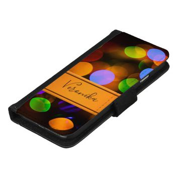 Multicolored Christmas lights. Add name. iPhone 8/7 Wallet Case