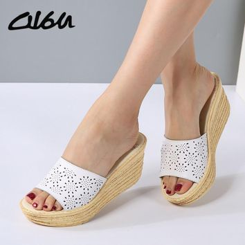 O16U Women Mules Clog Shoes Leather Slip on Peep Toe Ladies Cork Wedge Sandals Female