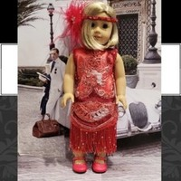 """Historical 18 inch doll clothes """"Roaring Red"""" will fit American Girl flapper dress 1920s art deco N7"""