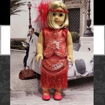 "Historical 18 inch doll clothes ""Roaring Red"" will fit American Girl flapper dress 1920s art deco N7"