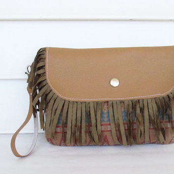 Bohemian Tribal Clutch/ Fringe Clutch/ Indian Fringe Clutch/ Tribal Purse/ Native Clutch.