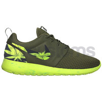 Nike Roshe Run Olive Green Marble Marijuana Leaves Custom Weed